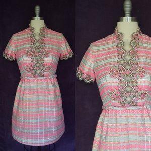 Vintage 1960 SWEE LO brocade beaded cocktail dress